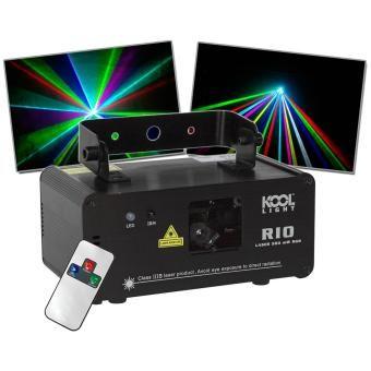 Laser multi couleurs et multi formes très puissant (500 mW)Fonctionnement en automatique, en fonction de la musique ou DMX.