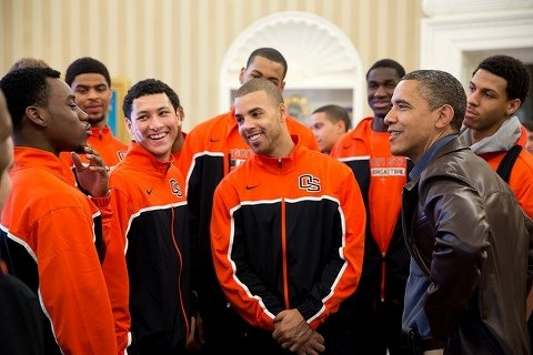 Pres. Obama welcomed members of the Oregon State basketball team to the Oval Office. Their coach, Craig Robinson, is the first lady's brother.