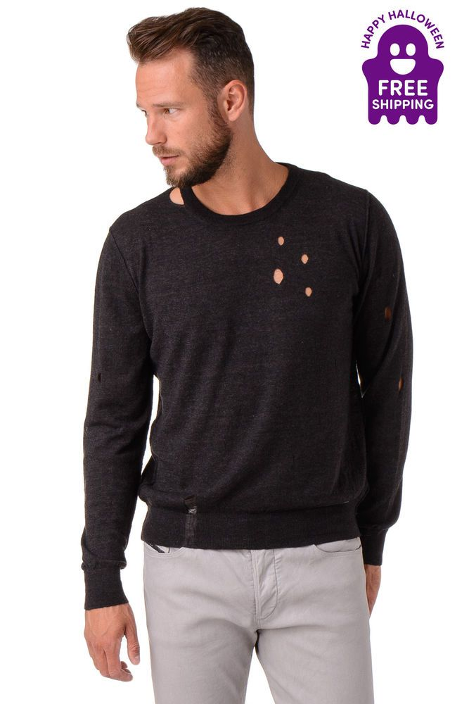 Cromoncent Mens Hooded Knit Pullover Destructed Jumper Sweaters