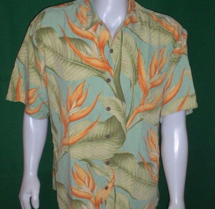 Tommy Bahama Hawaiian Aloha Shirt SILK Mens XL Camp Floral Leaf Coconut Buttons #TommyBahama #Hawaiian
