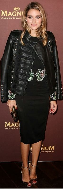 Olivia Palermo in Boda black leather jacket and Rachel Gilbert floral sequin dress.