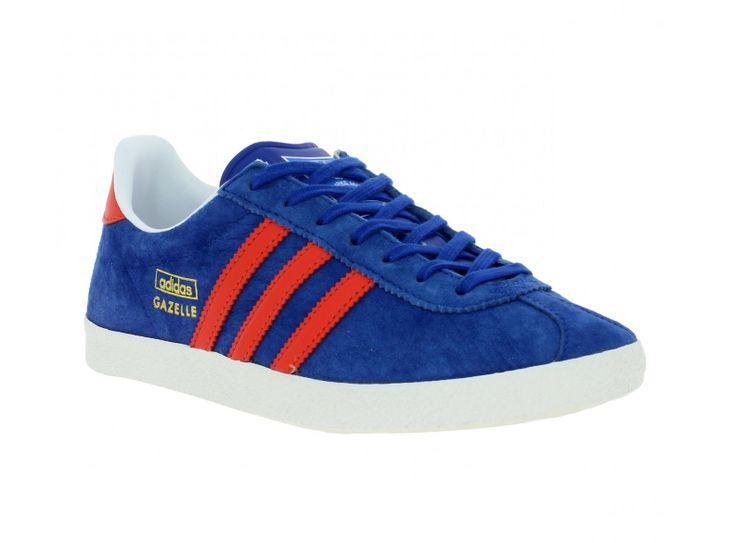 ADIDAS Gazelle velours Homme Bleu + Rouge   Chaussures Adidas   Pinterest   Adidas  gazelle, Adidas and Rouge b210f966ef90