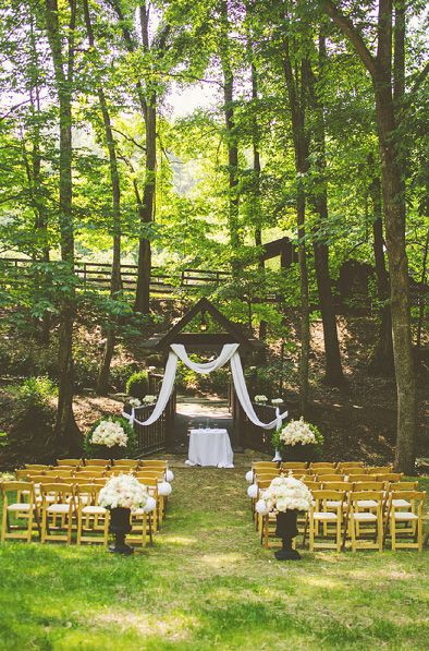 outdoor wedding ceremony - covered bridge in the mountains