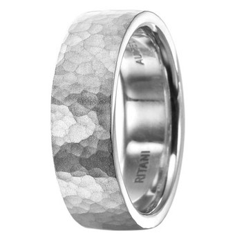 ritani mens classic wedding band with a hammered finish at two by london