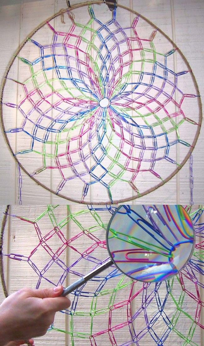 Use colored paper clips to make a pretty dream catcher.