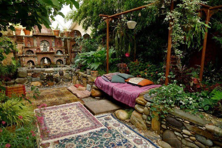 this indian inspired outdoor space is enough to relax even
