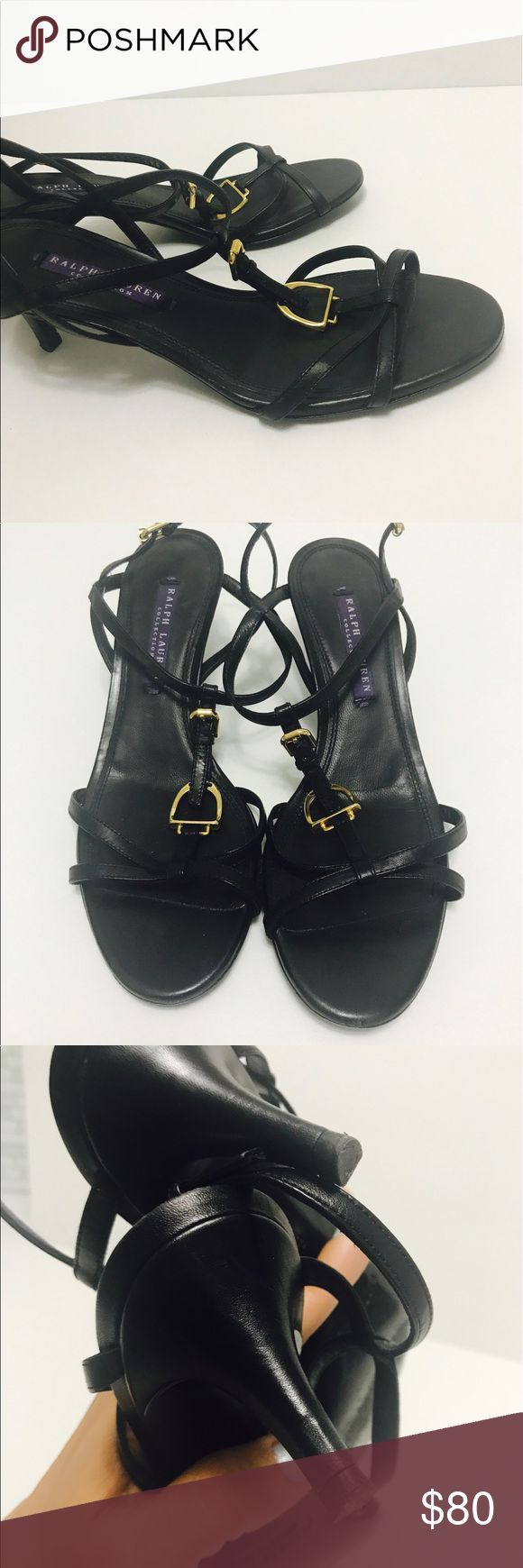 "Ralph Lauren PURPLE LABEL Black Strappy Shoes Ralph Lauren Purple Label strappy 2-2.5"" heel preowned Black Gold accents 6 1/2 B Ralph Lauren Purple Label Shoes Heels"