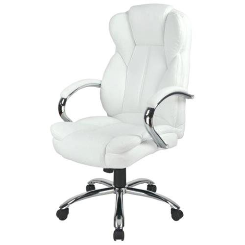 White High Back PU Leather Executive Office Desk Task Computer Chair w/Metal Base O18W