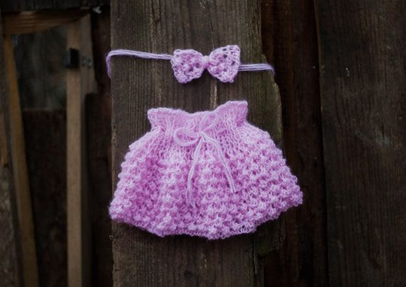 Pink Baby Skirt and Baby headband Baby Girl by GabriCollection
