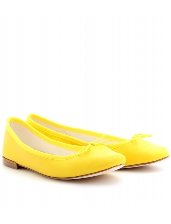 Yellow ballet flats- leather outsole