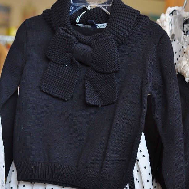 Ultra soft ultra cute ultra chic! Lili Gaufrette cotton and angora wool black bow sweater for girls {Don't you wish it came in ladies sizes?!?}. $91 || The Children's Hour Bookstore & Boutique || Clothing  Gifts  Toys  Shoes || 898 South 900 East || Salt Lake City Utah || 801.359.4150 || childrenshourbookstore.com