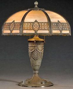 Caramel Slag Glass Lamp | Miller Attributed Slag Glass Shade Table Lamp,  American, Circa