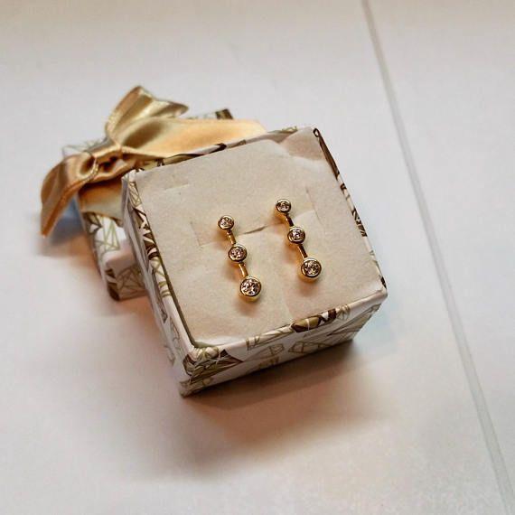 Ohrstecker Ohrringe Gold 333 Kristallsteine OR120