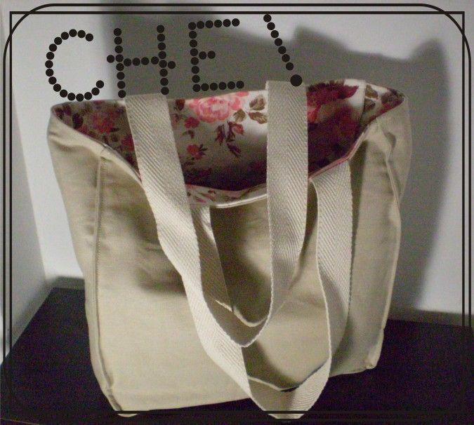 Bolso de lona doble, reversible, se usa de los dos lados con tiras reforzadas de algodón y costuras de refuerzo.