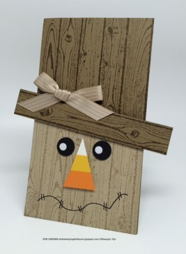 handmade scarecrow card using the hardwood background stamp from stampin - Handmade Halloween Cards Pinterest