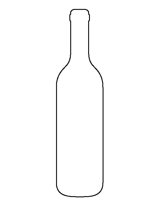 Wine bottle pattern. Use the printable outline for crafts, creating stencils, scrapbooking, and more. Free PDF template to download and print at http://patternuniverse.com/download/wine-bottle-pattern/