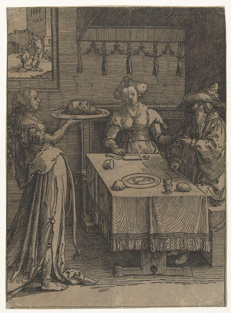 Lucas van Leyden | Salomé met het hoofd van Johannes de Doper, Lucas van Leyden, 1515 - 1519 | Salomé met het hoofd van Johannes de Doper op een schaal, Herodias en Herodes aan tafel gezeten. Op achtergrond onthoofding van Johannes.