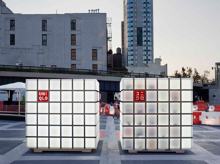 """The 6 """"UNIQLO CUBES,"""" celebrate UNIQLO's innovative yet classic apparel in smart jewel-like architectural packages. Designed by HWKN, the cubes illuminate and enlighten neighborhoods with an in-depth look into UNIQLO's unique product quality. The pop-up stores showcase UNIQLO by forming simple volumes with high-tech surfaces cladding their gridded surface."""