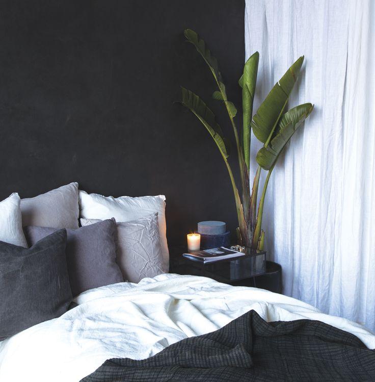 A.U Maison AW17. #aumaison #interior #homedecor #styling #danishdesign #bedroom #linen #tropical #curtain #bananaplant #bedlinen #cushions