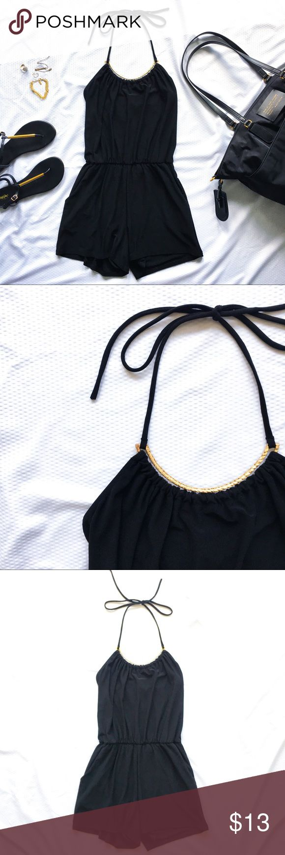 Black and gold halter romper A romper with pockets. That's black.  With a hint of gold trim. And stretchy. What a stellar combination!? Great condition, only flaw is the gold metal trim at neck has a slight bend in it (pictured)   *Read closet guidelines before purchase, thank you! 🖤 Charlotte Russe Dresses