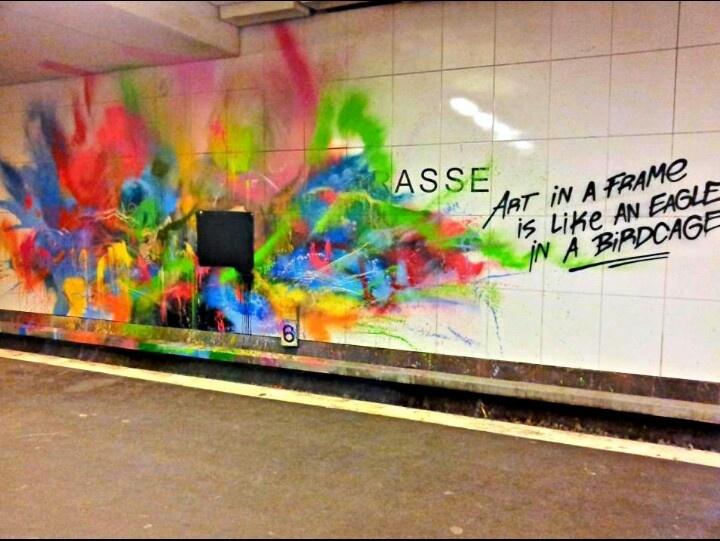 """Street Art in Berlin (Germany) - """"Art in a frame is like an eagle in a bird cage"""" ....hmmmm"""