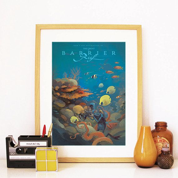 Retro Great Barrier Reef Australia Travel Poster