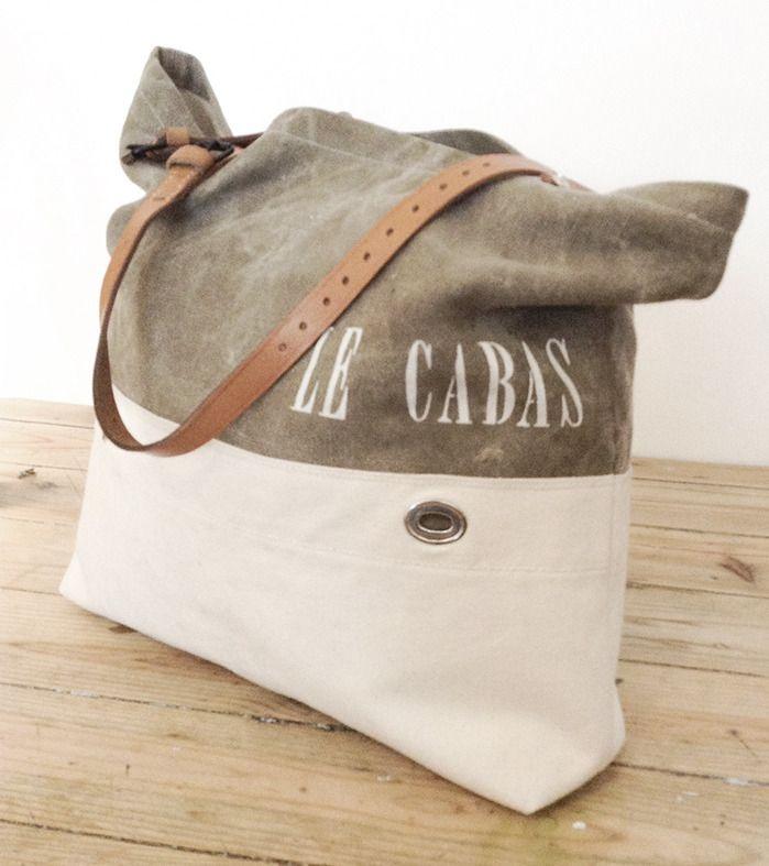 Sac à main vintage - Cabas - kaki et beige : Sacs à main par sac-vintage-soben