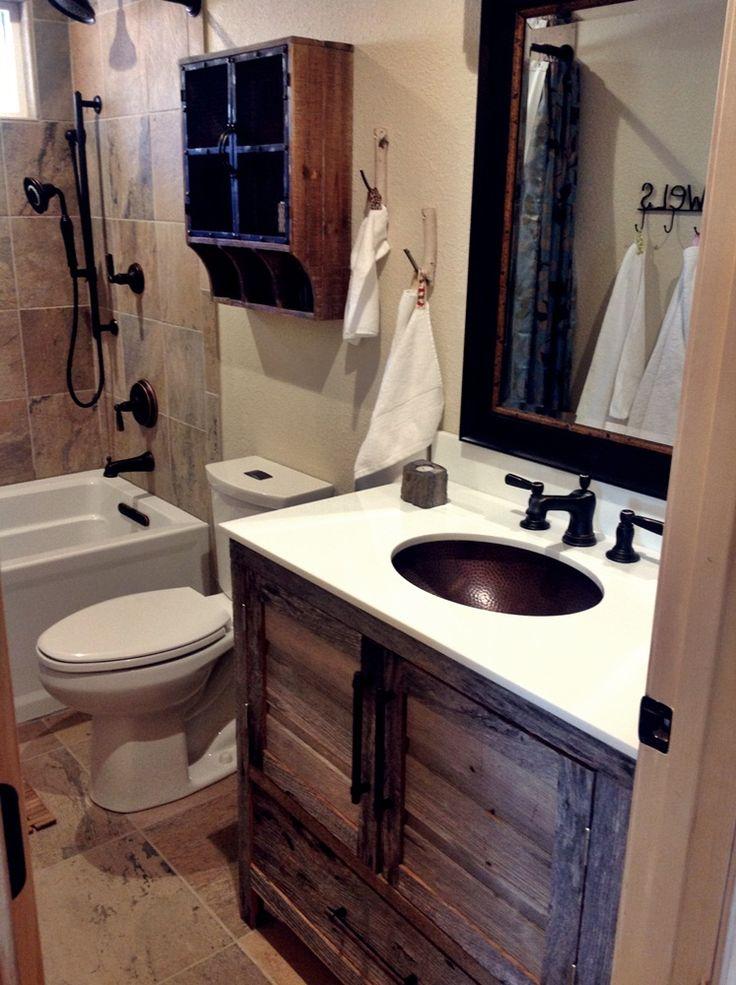"Small, ""modern rustic"" cabin bathroom remodel with grey barnwood vanity"