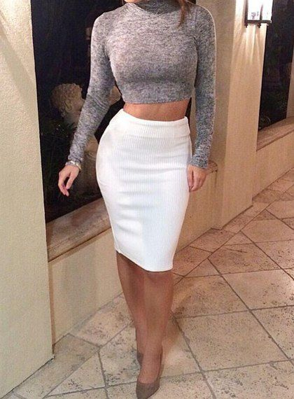 Sexy Turtle Neck Long Sleeve Crop Top + Solid Color Knitted Skirt Twinset For Women. Where do they sell these!?