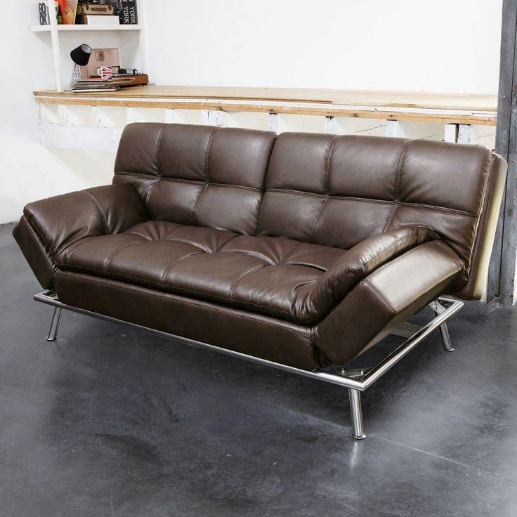 canap 3 places convertible marron capitonn denver maison du monde 459 new home. Black Bedroom Furniture Sets. Home Design Ideas