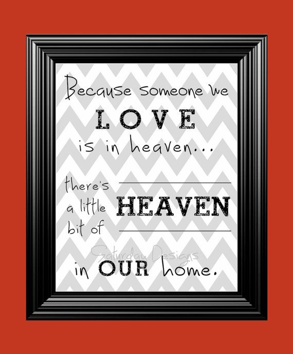 Heaven in Our Home quote - gray chevron, 8x10, INSTANT DOWNLOAD