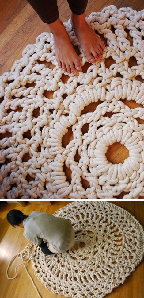 Which one of you handy people can make this for me????: Idea, Doilies Rugs, Area Rugs, Crochet Hooks, Crochet Rugs, Doilies Patterns, Crochet Doilies, Diy Rugs, Ropes Rugs