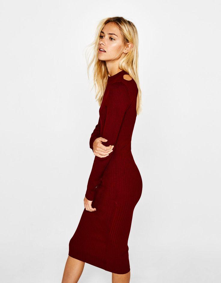 Long knit dress - Dresses - Bershka Ukraine