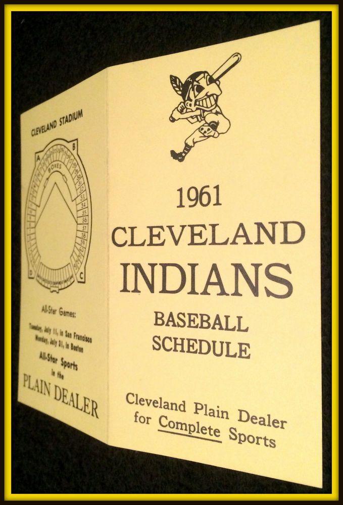 VINTAGE 1961 CLEVELAND INDIANS CLEVELAND PLAIN DEALER BASEBALL POCKET SCHEDULE  #Pocket #Schedule