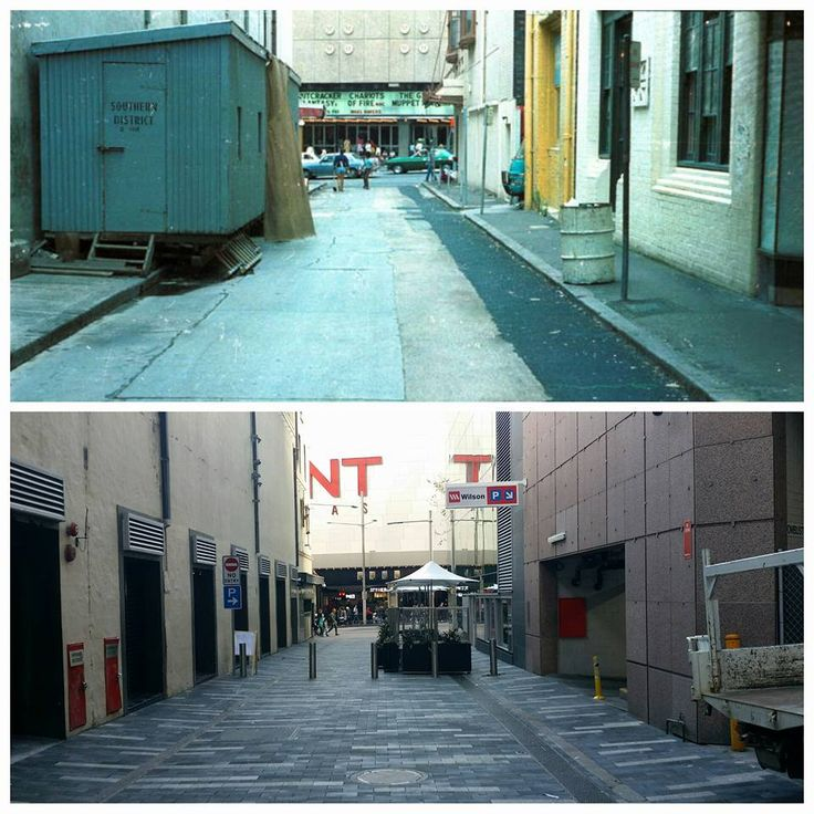 """Chariots of Fire "" now showing, looking west along Wilmot Street towards George Street to the Hoyts cinema complex in 1982<<<>>>2016 view to the latest releases at the Event cinemas. [City of Sydney Archives > Allan Hawley. By Allan Hawley]"