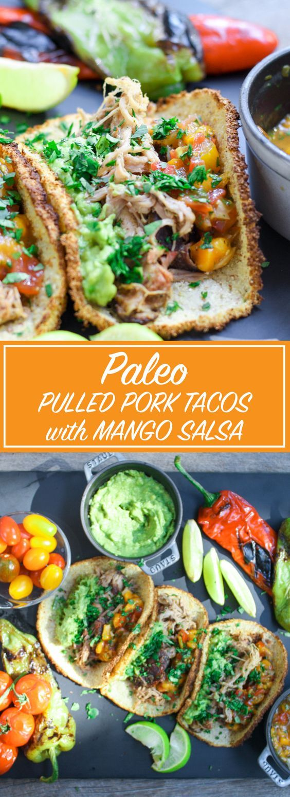 These Paleo pulled pork tacos are great in the cauliflower shell or lettuce leaf. The fresh mango salsa is a dream with pulled pork.