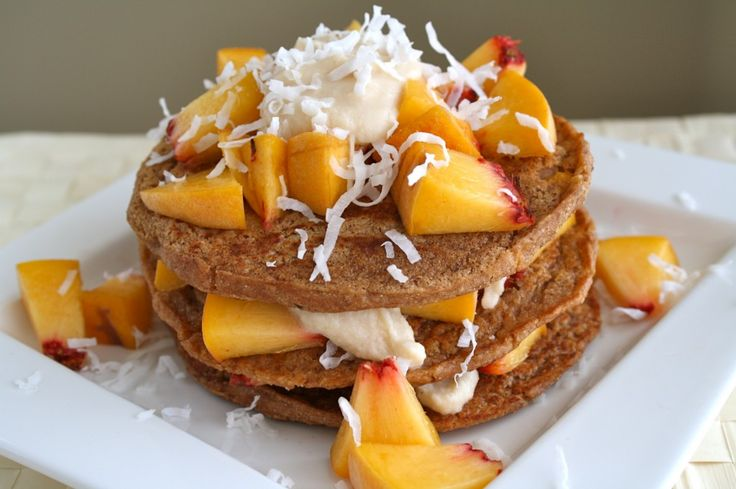 Coconut Peach Yogurt Pancakes with @Chobani via Kiss My Broccoli ...