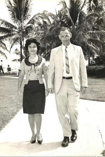 """""""If you feel good, you will look good. Make exercise a part of your life: Don't wait until after you've had your children or are over 35 to start. And, never leave the house without lipstick.""""    Submitted by daughter Donna Eisen, from Bethesda, MD    Pictured on her honeymoon in the Bahamas with her husband, Dr. W. Joe Jacumin"""