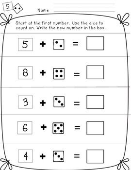 freebie - Dice addition and counting on, 6 pages. This is such an important skill to start from a number, then count up!
