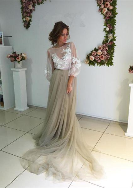 Prom Dresses,Evening Dress,Prom Dresses,Modest Elegant Long Sleeve Appliques