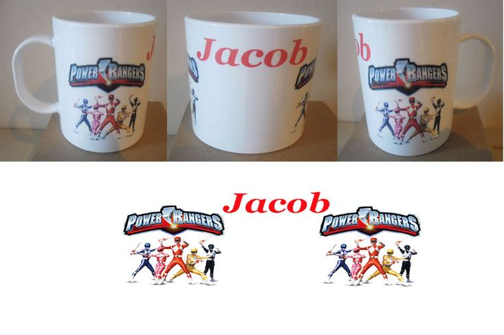 Personalised Mug - Polymer Plastic - Power Rangers - With Wording