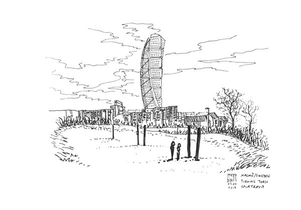 Nature vs Calatrava's Turning Tower.   Turning Torso Malmö, Sweden 03.04.2015