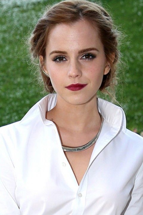 Emma Watson It might seem like a more mature style for English rose Emma Watson, but she really knows how to rock this plaited updo. Parting her hair on one side, Emma braids the hair on each side into a low bun and teams the up hairstyle with a striking red lip.   Read more at http://www.marieclaire.co.uk/beauty/galleries/11842/0/updos.html#QWoij2g6tYgIiW1I.99