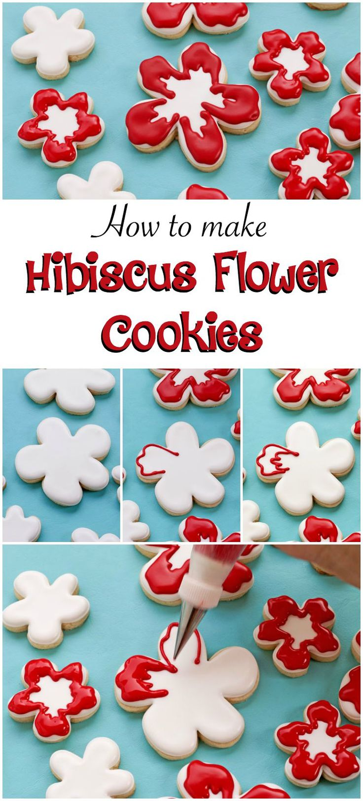 How to Make Fun Hibiscus Cookies via www.thebearfootbaker.com