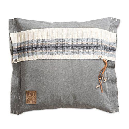 Knit Factory 041211 Dekokissen Strickkissen Julia, 50 x 50 cm, grau mit Füllung