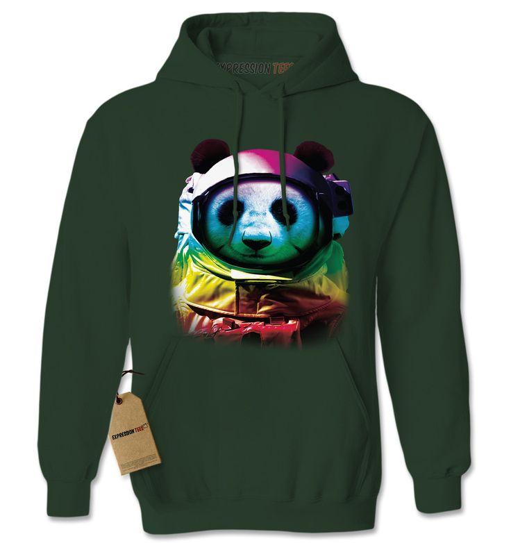 Panda In Space Neon Adult Hoodie Sweatshirt