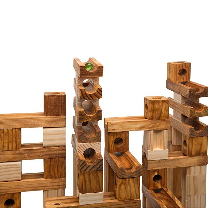 Amazon Com Ideal Amaze N Marbles 60 Piece Classic Wood Construction Set Toys Games Wooden Marble Run Construction Sets Magnetic Wooden Blocks