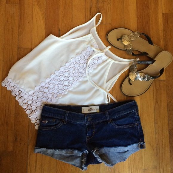 Beautiful white strappy top Beautiful white crocheted strappy tank with detail on back Monteau Tops