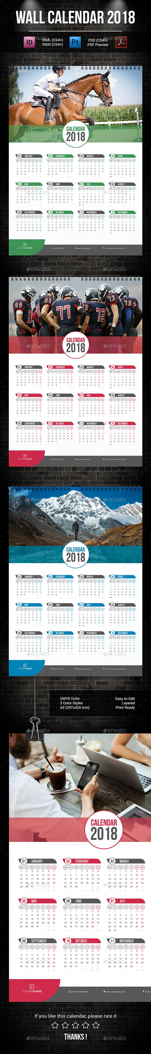 Wall Calendar 2018 Template PSD, InDesign INDD