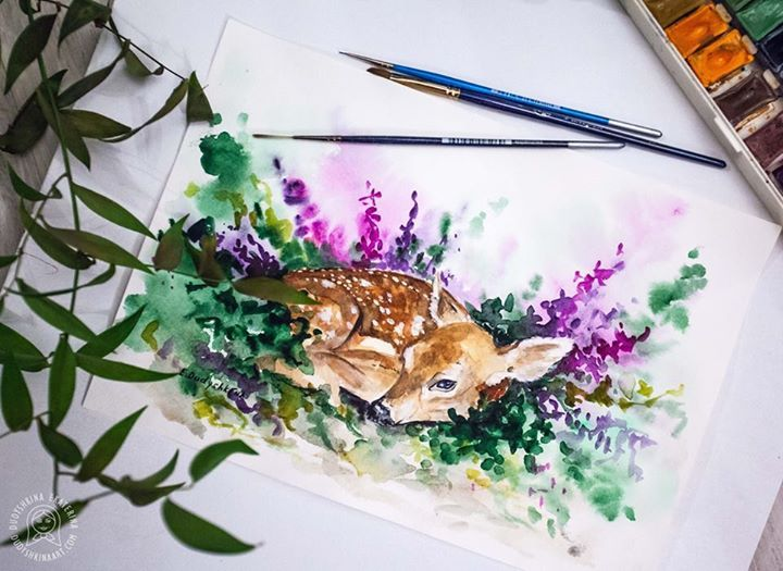 Watercolor deer. Animal art by Dudyshkina Ekaterina.  Paints palette. Art space of artist. The process of creation. My brushes, paints, color palettes, ink. Анималистика. #dudyshkina #workspace